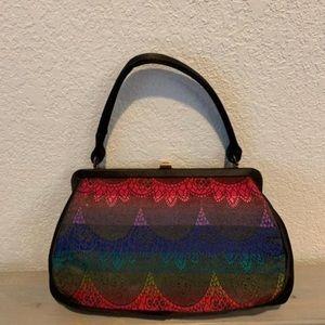 Vintage 50s 60s satin rainbow pinup satchel purse